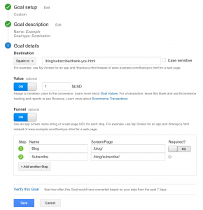 Google Analytics Goal Set-Up, Description, and Details